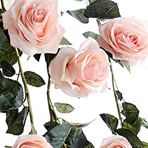 FYYDNZA 180Cm Artificial Rose Flower Ivy Wedding Decoration Real Touch Silk Flowers Chain With Leaves For Home Garland Hanging Decoration 4