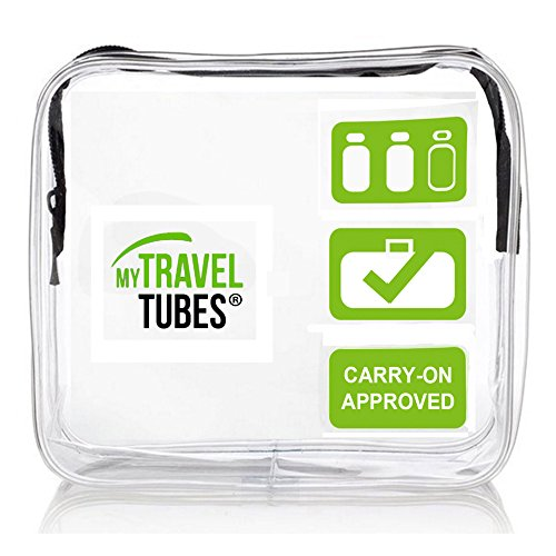 TSA Approved 3-1-1 Airline Carry On Clear Travel Toiletry Bag | Quart Sized (Single Green Blk-Zip, Clear Green) (Quart Bag 1)