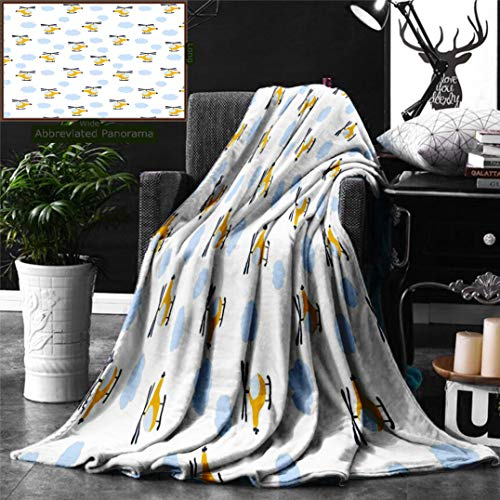 Unique Custom Digital Print Flannel Blankets Kids Decor Cute Aircraft in Clouds Children Boys Girls Babyshower Playroom Cartoon Super Soft Blanketry for Bed Couch, Throw Blanket 70 x 50 Inches