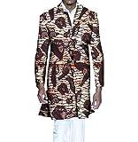 Highisa Men's Africa Wrap Jacket Dashiki Printing Floral Vogue Trench Coat 2 XL