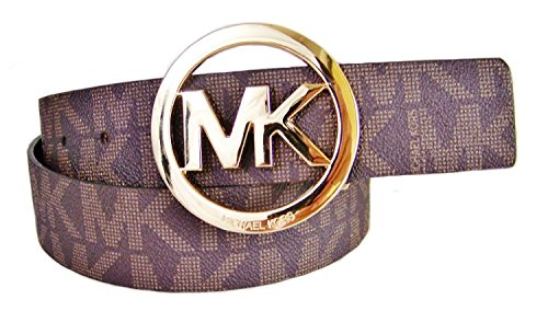 Michael Kors Mk Signature Monogram Logo Gold Buckle Belt Brown Size Medium