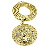 "Jesus Medallion Chain Iced-Out Round Huge Pendant Gold Finish 36"" In Franco Necklace"