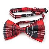 TopTie Unisex Fashion Black and Red Plaid Tartan Bow tie