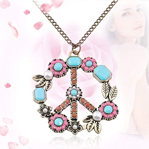 Vintage Flower Coral Turquoise Simulated Pearl Peace Sign Pendant Long Necklace Jewelry Anti-War Sweater -