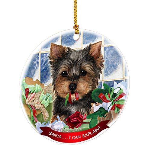 Yorkie Santa I Can Explain Happy Howliday Round White Porcelain Hanging (Breed Ornament)