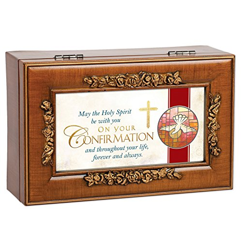 - Cottage Garden Confirmation Holy Spirit with You Woodgrain Petite Rose Keepsake Music Box Plays On Eagle's Wings