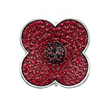 Poppy Pins Deep Red Crystal Poppy Brooch For Women Bobury Remembrance Day Gifts