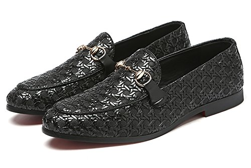 on Metal Loafer Smoking Slipper Moccasins Mens Black Fashion Buckle Slip Shoes Dress Santimon Casual p8axq