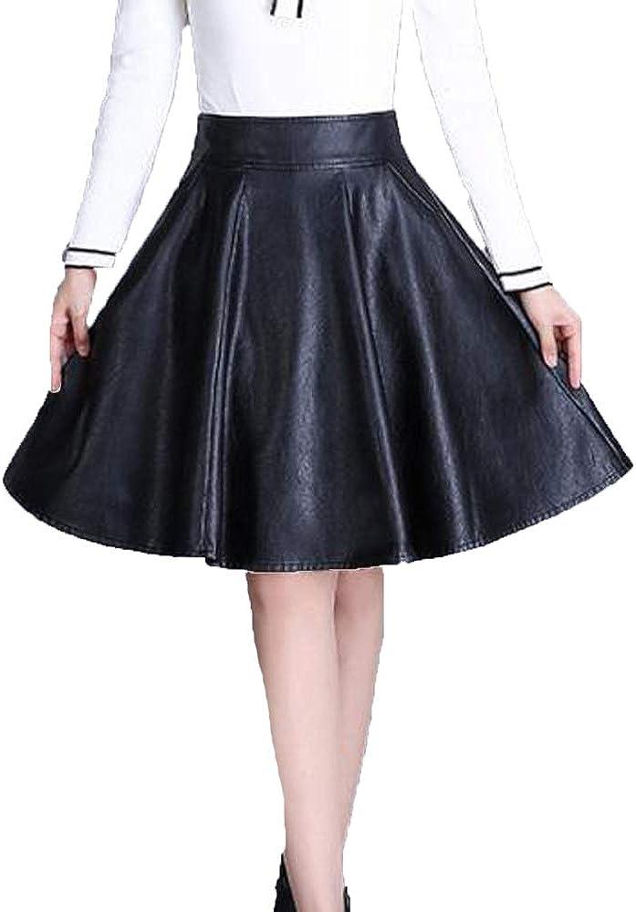 NIAIS Falda Plisada con Efecto De Falda Minifalda Y Pliegues De Imitación De Cuero De Talle Alto para Mujer