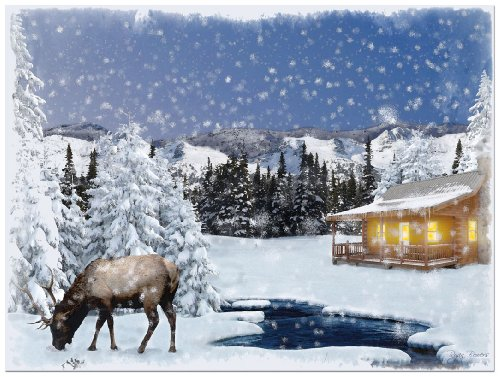 Ohio Wholesale Radiance Lighted Winter Lodge Canvas Wall Art, from our Snowmen - Moose Lighted Christmas