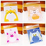 PSO - 100 pcs Cute Candy Animals Cake Cookies Biscuits Packing Bags Self Adhesive Plastic Gift Bags Birthday Party Snack Baking 77cm