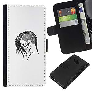 // PHONE CASE GIFT // Moda Estuche Funda de Cuero Billetera Tarjeta de crédito dinero bolsa Cubierta de proteccion Caso HTC One M9 / Emo Goth Skull /