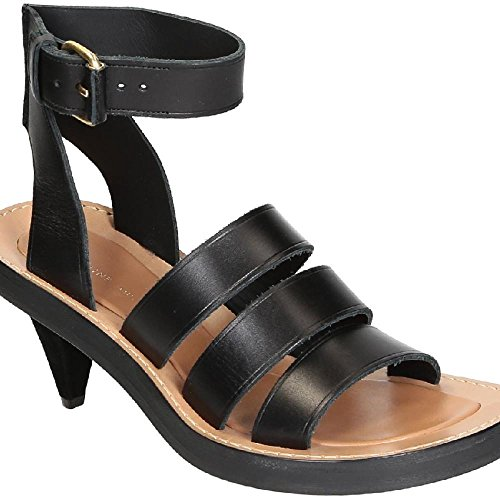 Céline Women's Black Calf Leather High Heel Sandals Shoes - Size: 9 (Celine Leather Heels)