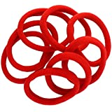 Large Thick Premium Ponytail Hair Bands -Seamless - Red 1000pcs