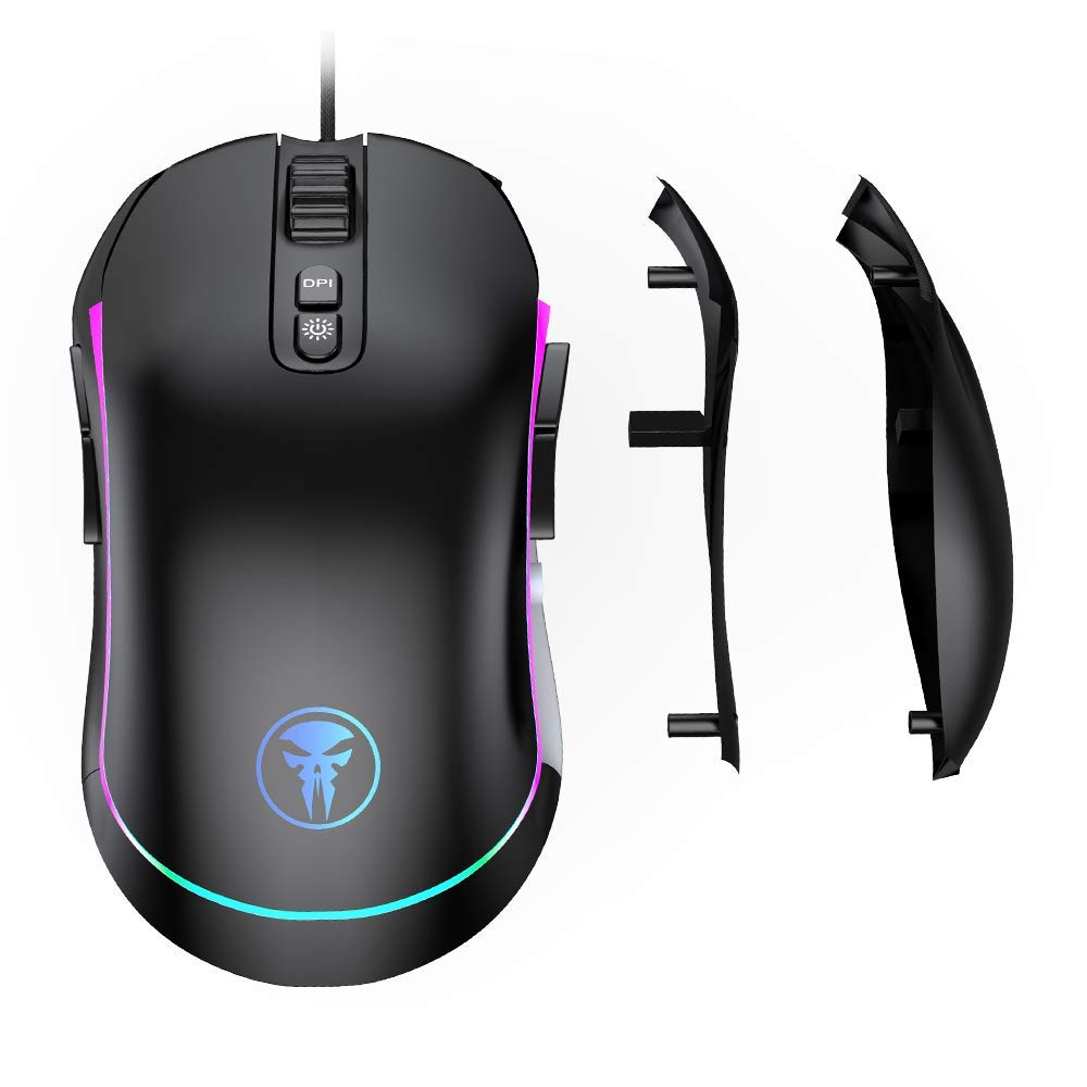 VersionTECH.Wired Left Handed Gaming Mouse,USB 4000 DPI Right Handed mice with Side Button,Changeable Side Plates, LED RGB Illumination Light,for Win Laptop PC Computer Mac Desktop Notebook Black