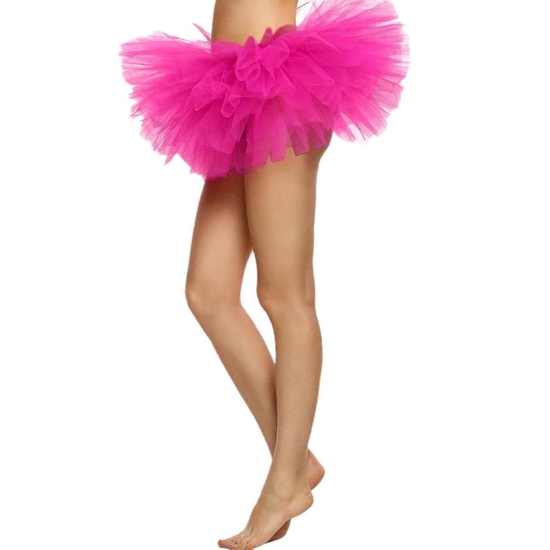 Elevin(TM)2017Women Girl Elastic Stretchy Ballet Dance Tulle Dress Tutu 5 Layer Party Skirt