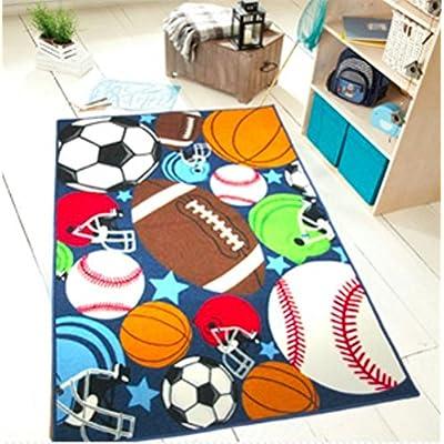 HUAHOO Blue Kids Rug Fun Sport Rugs Nylon Carpet Boys Girls Childrens Rug Balls Print with Soccer Ball, Basketball, Football, Tennis Ball Bedroom Playroom (80x120cm(31.5''x47'')): Kitchen & Dining