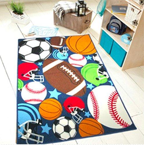 HUAHOO Blue Kids Rug Fun Sport Rugs Nylon Carpet Boys Girls Childrens Rug Balls Print with Soccer Ball, Basketball, Football, Tennis Ball Bedroom Playroom (80 x 120cm(31.5'' x 47'')) -