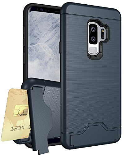 - Galaxy S9 Plus Case, XRPow Samsung S9 Plus Credit Card Slots Holder Hybrid Bumper Armor Dual Layer Shockproof Protective Case Cover NAVY BLUE