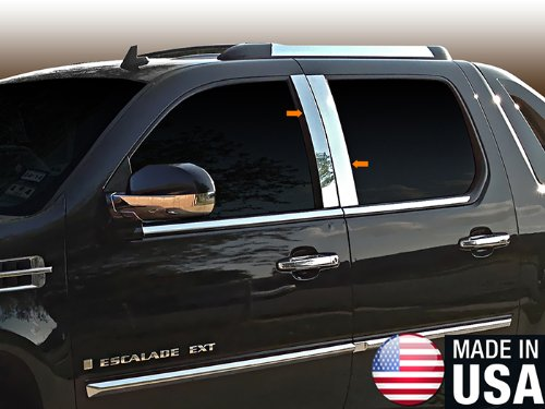 Escalade Pillar (Made in USA! Fit 2007-2013 Cadillac Escalade Stainless Steel Door Pillar Posts Chrome Cover Window)