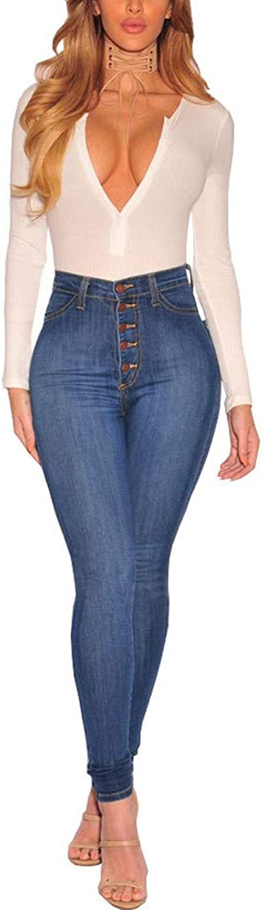 LUBITY Jeans Femme Taille Haute Slim Grande Taille Bleu Chic