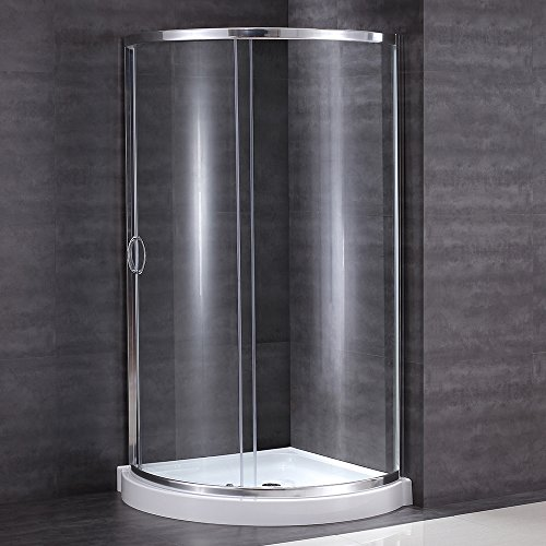 Ove Decors Breeze 31 withoutwalls Premium 31-Inch Shower Kit with Acrylic Base and Clear Glass Sliding Door