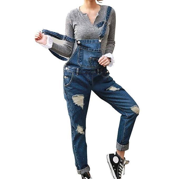 best sneakers 2053a fe808 Hibote Donna Salopette Jeans Tuta Buco Pantaloni Bavaglino ...