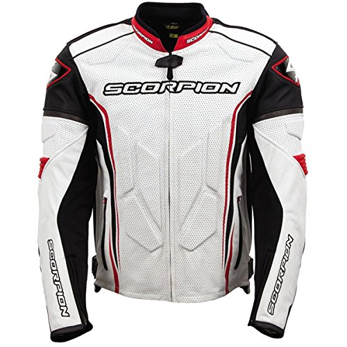s Leather Street Motorcycle Jacket - White/Red/Large ()