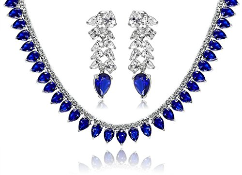 Epinki Silver Plated Jewelry Set, Wheat Drop Cubic Zirconia Blue Wedding Necklace And Earrings Set by Epinki