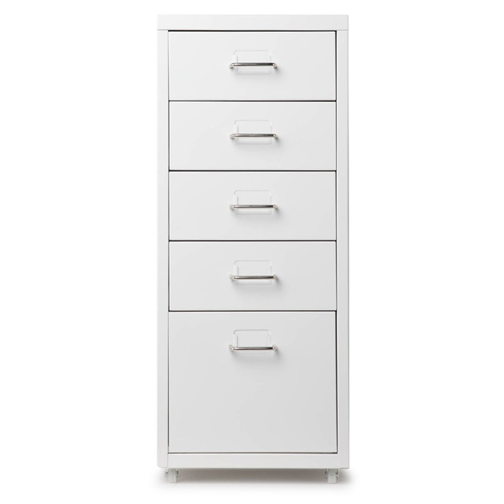 iKayaa 5 Drawers Filing Cabinet File Cabinets Steel Storage Cabinet Office Cupboard with 4 Casters Dunkelgrau
