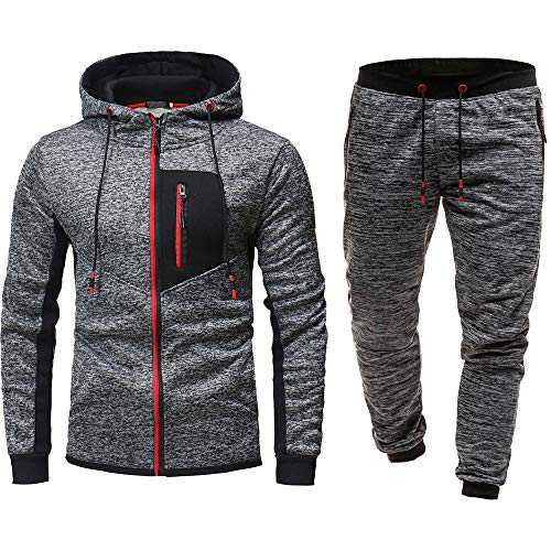 (Men Sport Suit Stretchy Trousers Hooded Pants Jogging Sports Tracksuit Set (XXL=US XL, Red))