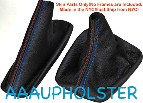 AAAUPHOLSTER M-Stitch /// Manual Stick Shifter Black PVC Leather Shift Boot & E Brake Cover Set FITS for BMW E-46 3-Series & Years to FIT 1999 2000 2001 2003 2004