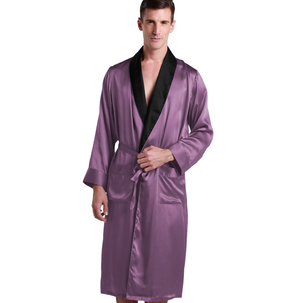 22 Momme Men Black Collar Silk Robe 100% Pure Silk Violet By LilySilk oeko- XL/42