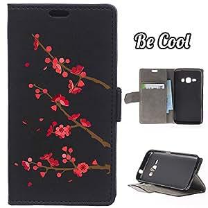 BeCool® - Funda carcasa tipo [ Libro ] Samsung Galaxy J1 2016 [ Función Soporte ] Cerezo en flor