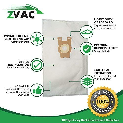 Fits all Ultimate G Diamond Edition Sentria Year 2009+ ZVac 10Pk Compatible Style F Cloth Vacuum Bags Replacement for Kirby Vacuum Bags Replaces Part# 204808 Ultimate G Series Gsix