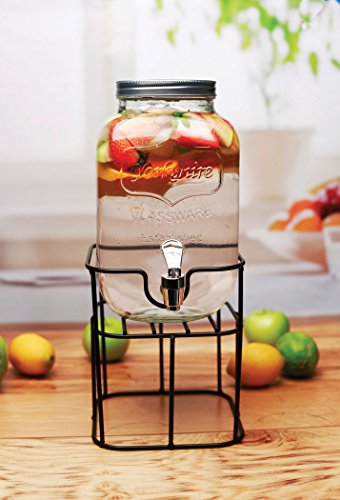Circleware 69122 Sun Tea Mini Mason Jar Glass Beverage Dispenser with Lid Glassware for Water, Juice, Beer, Wine, Liquor, Kombucha Iced Punch & Cold Drinks, Classic, Yorkshire 1 Gallon with Stand by Circleware (Image #7)