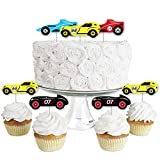 Let's Go Racing - Racecar - Dessert Cupcake Toppers - Race Car Birthday Party or Baby Shower Clear Treat Picks - Set of 24