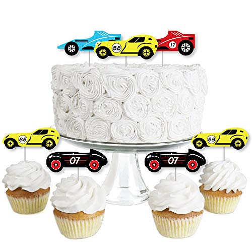 (Let's Go Racing - Racecar - Dessert Cupcake Toppers - Race Car Birthday Party or Baby Shower Clear Treat Picks - Set of)