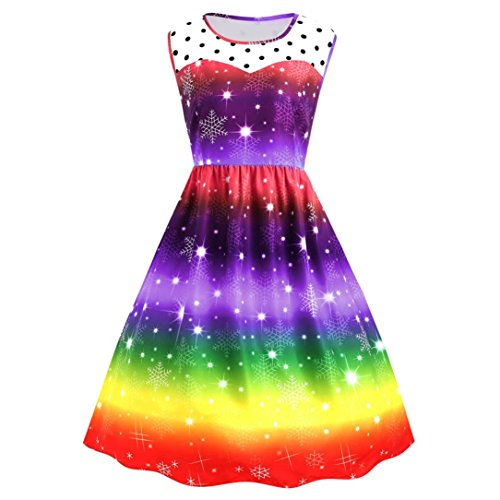 Women Dress, Gillberry Womens Christmas Rainbow Party Dress Vintage Xmas Swing Dress (Purple, XXL=Asian Size XXXL)
