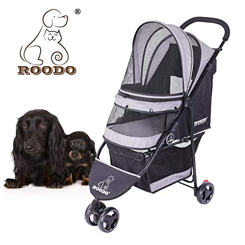 ROODO Escort 3 Wheel Pet Stroller for Cats/Dogs,Lightweight, Compact, Portable, Practical, Removable,Support 30 Pound Animals(Grey) (Best Pet 3 Wheel Pet Stroller)