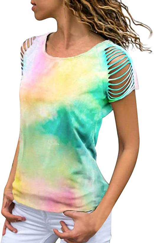 Sunhusing Womens Colorblock Tie-Dyed Printed Sleeveless T-Shirt Summer Casual O-Neck Loose Plus Size Tank Tops