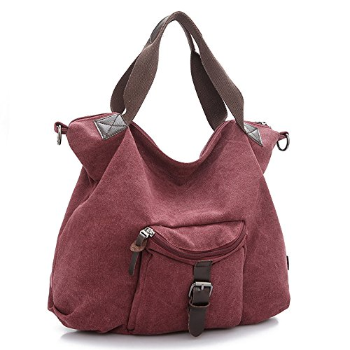 Fashion Women Tote Bags Solid Canvas Sling Shoulder Bags (purplish red) by LIANGZE