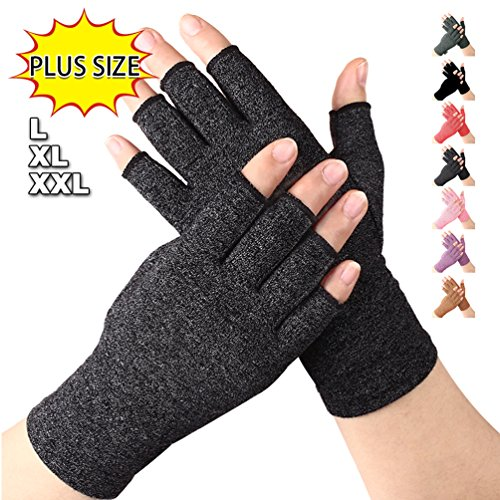 Arthritis Gloves Black Large XL XXL, Compression Gloves Relieve Pain from Rheumatoid, RSI, Carpal Tunnel, Fingerless Gloves for Computer Typing and Dailywork, Support for Hands (Black, XXL) by DISUPPO