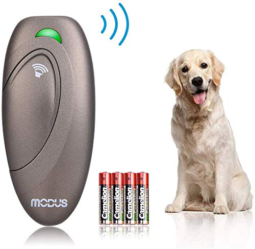 MODUS Ultrasonic Bark Control Device, Anti Barking Device Dog Training Aid 2 in 1 Control Range of 16.4 Ft W/Anti-Static Wrist Strap LED Indicate Walk a Dog Outdoor