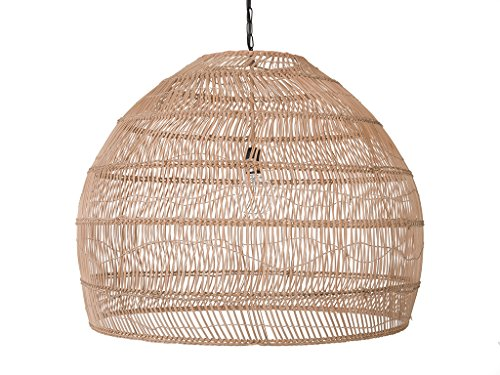 (Open Weave Cane Rib Bell Ceiling Pendant Lamp, Natural Color, Diameter 30 Inches, Hardwired, 1 Bulb 60 Watts)
