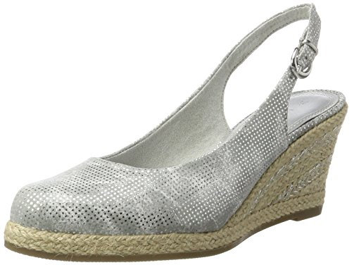 Marco Tozzi Women's 29608 Wedge Heels Sandals, Navy, 4 UK Silver (Silver Metall. 933)