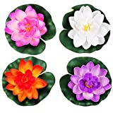 LEFV trade; Floating Flowers Pond Decor Water Lily Lotus Foam Artificial Flower for Garden Pool Home Aquarium Weddings Holidays, Small (Set of 4)