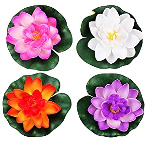 LEFVTM Floating Flowers Pond Decor Water Lily Lotus Foam Artificial Flower for Garden Pool Home Aquarium Weddings Holidays, Small (Set of 4) 22