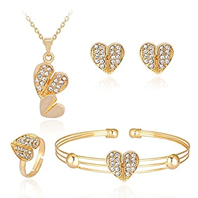 iLH® Clearance Deals 4 Pcs Jewelry Sets Women Personality Rhinestone Necklace Bracelet Ring Earrings Jewelry Set Romantic Gift by ZYooh