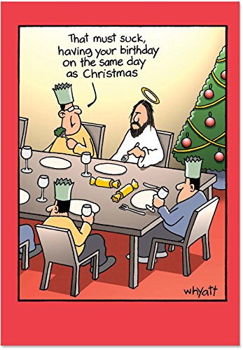 12 Boxed 'Birthday Sucks' Christmas Cards with Envelopes (4.75 x 6.625 Inch), Happy Birthday Jesus Christ Holiday Notes, Jesus at a Christmas Party Seasonal Greeting Cards, Religious Jokes B1690 -